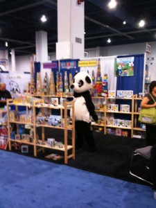 A friendly panda at one of the booths that waved just after I shot this photo.