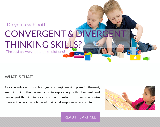 Do you teach both Convergent and Divergent thinking skills? Read the article